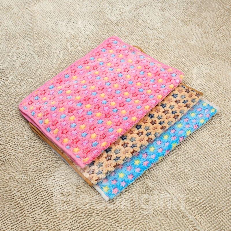 Soft Warm Flower Pattern Coral Velvet Pets Blanket