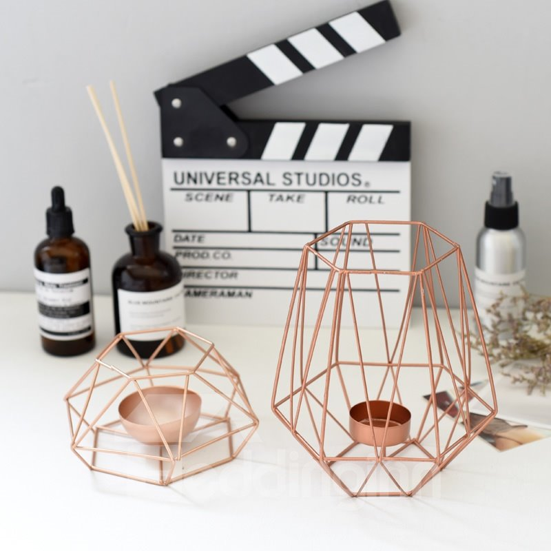 INOpets.com Anything for Pets Parents & Their Pets Steel Art Rose Gold Color Candle Holder Home Decor